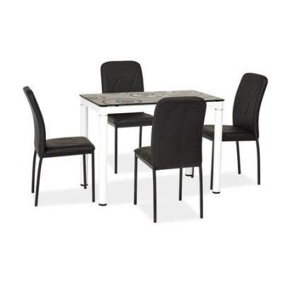 Jídelní stůl Damar 100x60 cm černá deska/bílé nohy
