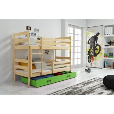 Dětská patrová postel ERYK 200x90 cm Zelená Borovice