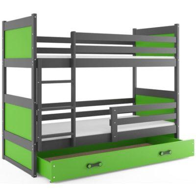 Dětská patrová postel RICO 200x90 cm Zelená Šedá