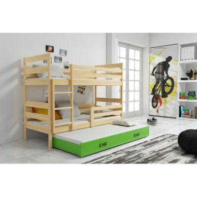 Dětská patrová postel s výsuvnou postelí ERYK 200x90 cm Zelená Borovice