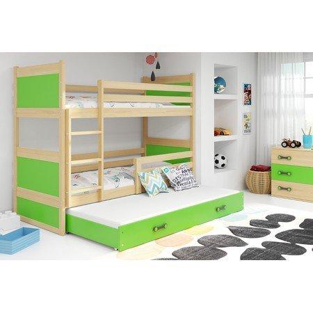 Dětská patrová postel s výsuvnou postelí RICO 190x80 cm Zelená Šedá