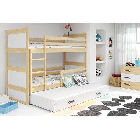 Dětská patrová postel s výsuvnou postelí RICO 200x90 cm Zelená Šedá