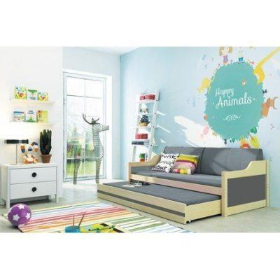 Dětská postel nebo gauč s výsuvnou postelí DAVID 190x80 cm Zelená Šedá