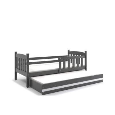 Dětská postel s výsuvnou postelí KUBUS 200x90 cm Šedá