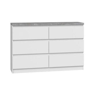 Komoda 6 šuplíků 120 cm M6 bílá/beton