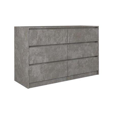 Komoda 6 šuplíků Karo 120 cm beton