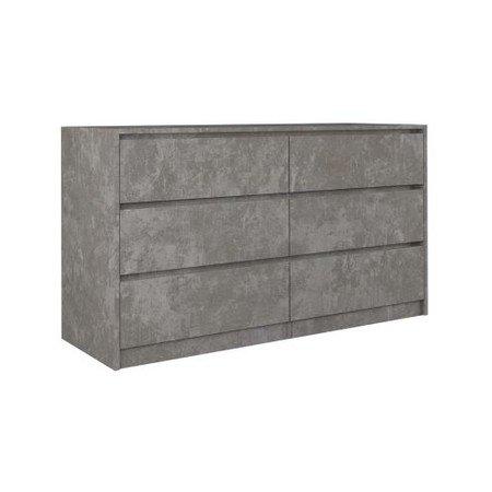 Komoda 6 šuplíků Karo 140 cm beton