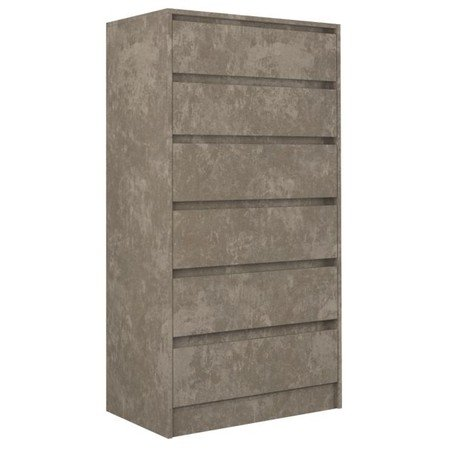 Komoda 6 šuplíků Karo K6 beton