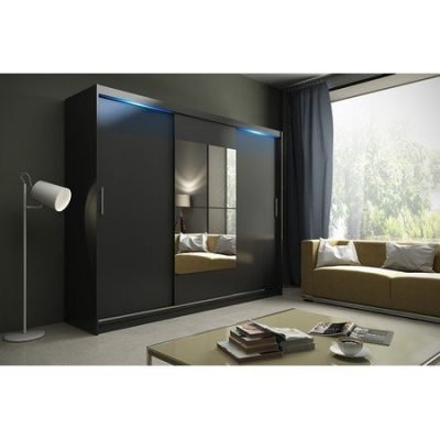 Kvalitní šatní skříň KOLA 1 černá šířka 250 cm Včetně LED osvětlení