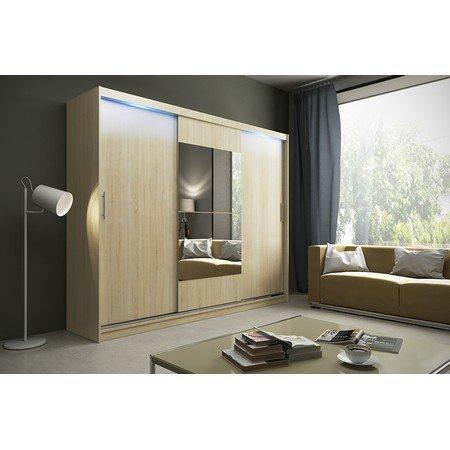 Kvalitní šatní skříň KOLA 1 dub sonoma šířka 250 cm Včetně LED osvětlení