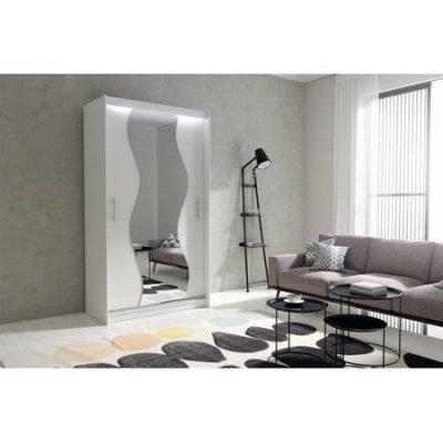 Kvalitní šatní skříň KOLA 10 bílá šířka 120 cm Včetně LED osvětlení