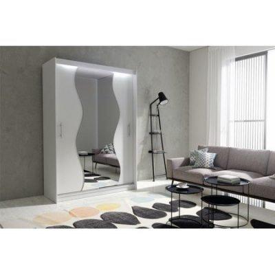 Kvalitní šatní skříň KOLA 10 bílá šířka 150 cm Včetně LED osvětlení