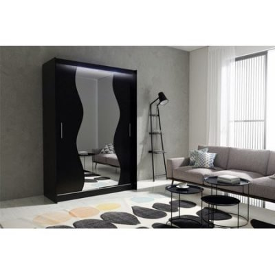 Kvalitní šatní skříň KOLA 10 černá šířka 150 cm Včetně LED osvětlení