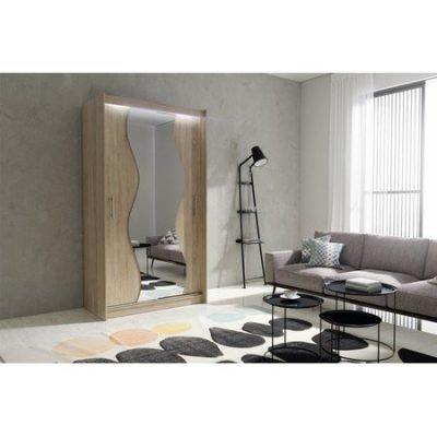 Kvalitní šatní skříň KOLA 10 dub sonoma šířka 120 cm Včetně LED osvětlení
