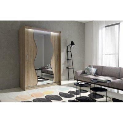 Kvalitní šatní skříň KOLA 10 dub sonoma šířka 150 cm Včetně LED osvětlení