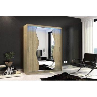 Kvalitní šatní skříň KOLA 10 dub sonoma šířka 180 cm Včetně LED osvětlení