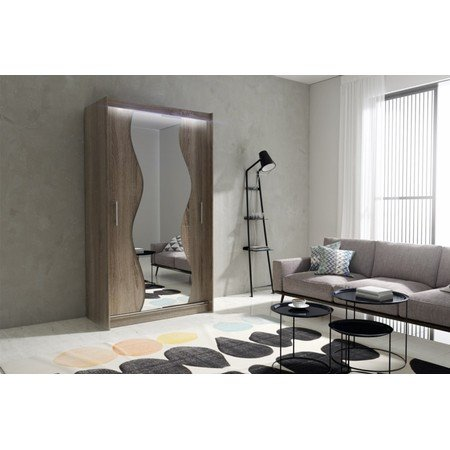 Kvalitní šatní skříň KOLA 10 dub trufla šířka 120 cm Včetně LED osvětlení