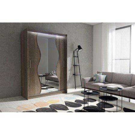Kvalitní šatní skříň KOLA 10 dub trufla šířka 150 cm Včetně LED osvětlení