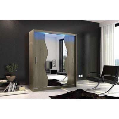 Kvalitní šatní skříň KOLA 10 dub trufla šířka 180 cm Včetně LED osvětlení