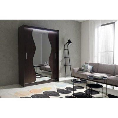 Kvalitní šatní skříň KOLA 10 wenge šířka 150 cm Včetně LED osvětlení