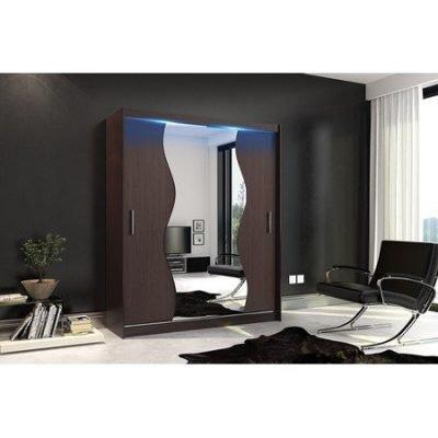 Kvalitní šatní skříň KOLA 10 wenge šířka 180 cm Včetně LED osvětlení