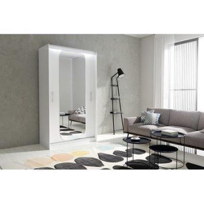 Kvalitní šatní skříň KOLA 11 bílá šířka 120 cm Včetně LED osvětlení