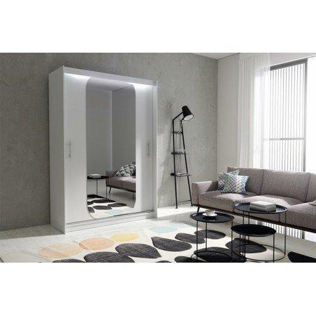Kvalitní šatní skříň KOLA 11 bílá šířka 150 cm Včetně LED osvětlení