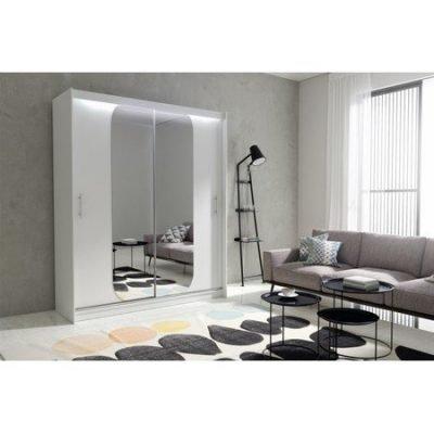 Kvalitní šatní skříň KOLA 11 bílá šířka 180 cm Včetně LED osvětlení