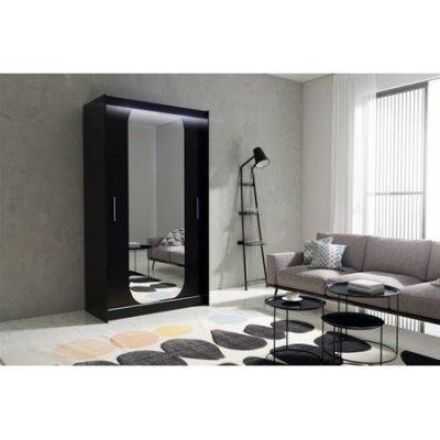 Kvalitní šatní skříň KOLA 11 černá šířka 120 cm Včetně LED osvětlení