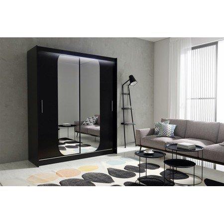 Kvalitní šatní skříň KOLA 11 černá šířka 180 cm Včetně LED osvětlení