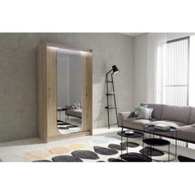 Kvalitní šatní skříň KOLA 11 dub sonoma šířka 120 cm Včetně LED osvětlení