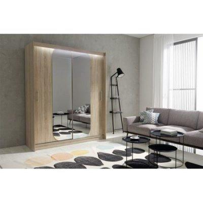 Kvalitní šatní skříň KOLA 11 dub sonoma šířka 180 cm Včetně LED osvětlení