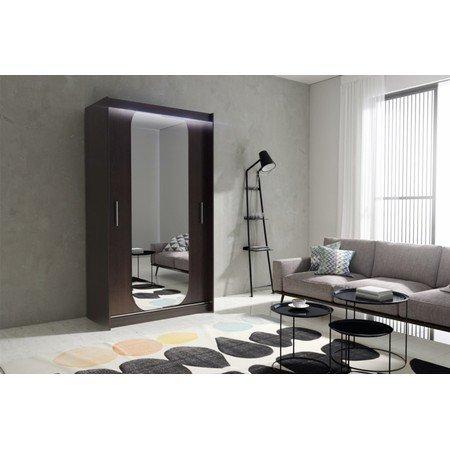 Kvalitní šatní skříň KOLA 11 wenge šířka 120 cm Včetně LED osvětlení