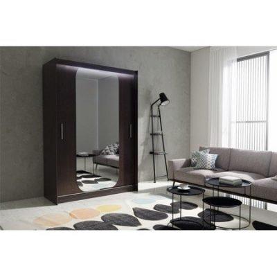 Kvalitní šatní skříň KOLA 11 wenge šířka 150 cm Včetně LED osvětlení