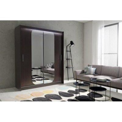 Kvalitní šatní skříň KOLA 11 wenge šířka 180 cm Včetně LED osvětlení