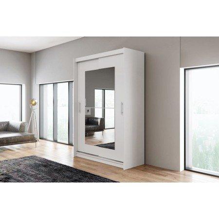 Kvalitní šatní skříň KOLA 12 bílá šířka 150 cm Včetně LED osvětlení