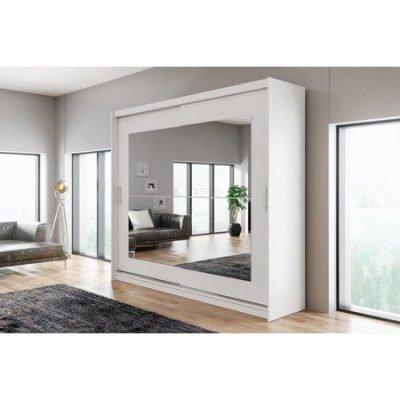 Kvalitní šatní skříň KOLA 12 bílá šířka 250 cm Včetně LED osvětlení
