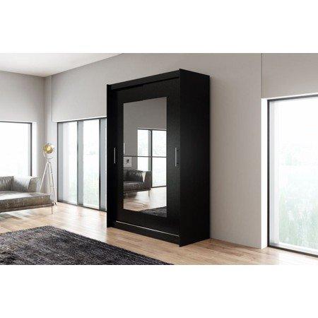 Kvalitní šatní skříň KOLA 12 černá šířka 150 cm Včetně LED osvětlení