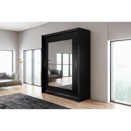 Kvalitní šatní skříň KOLA 12 černá šířka 180 cm Včetně LED osvětlení
