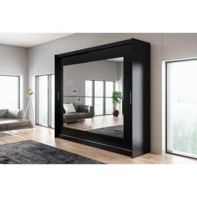 Kvalitní šatní skříň KOLA 12 černá šířka 250 cm Včetně LED osvětlení