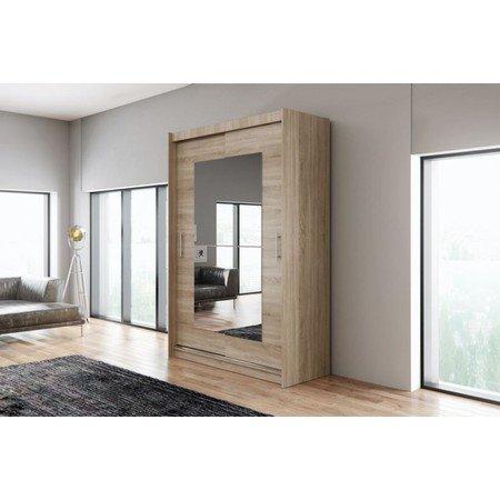 Kvalitní šatní skříň KOLA 12 dub sonoma šířka 150 cm Včetně LED osvětlení