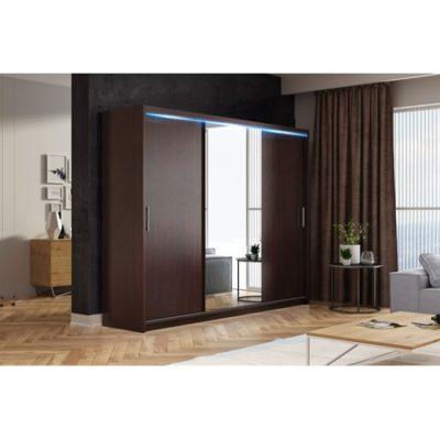 Kvalitní šatní skříň KOLA 13 wenge šířka 250 cm Včetně LED osvětlení