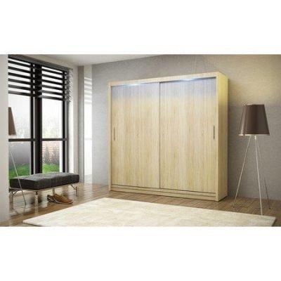Kvalitní šatní skříň KOLA 2 dub sonoma šířka 180 cm Včetně LED osvětlení
