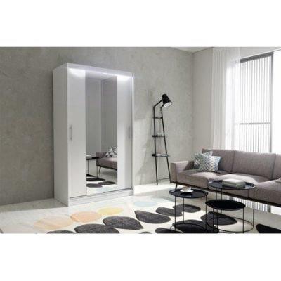 Kvalitní šatní skříň KOLA 4 bílá šířka 120 cm Včetně LED osvětlení