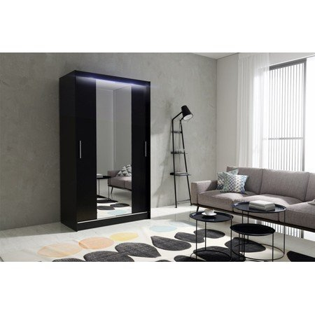 Kvalitní šatní skříň KOLA 4 černá šířka 120 cm Včetně LED osvětlení