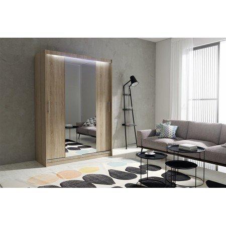 Kvalitní šatní skříň KOLA 4 dub sonoma šířka 150 cm Včetně LED osvětlení