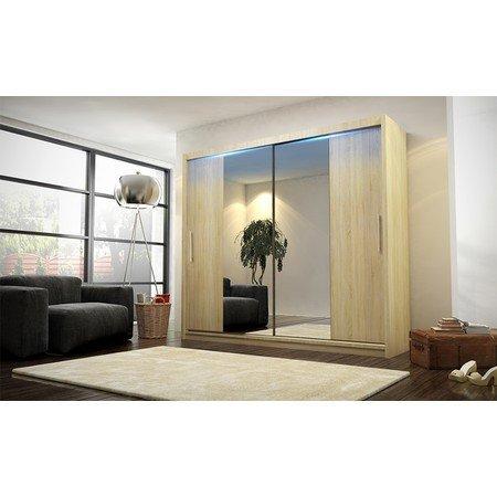 Kvalitní šatní skříň KOLA 4 dub sonoma šířka 180 cm Včetně LED osvětlení