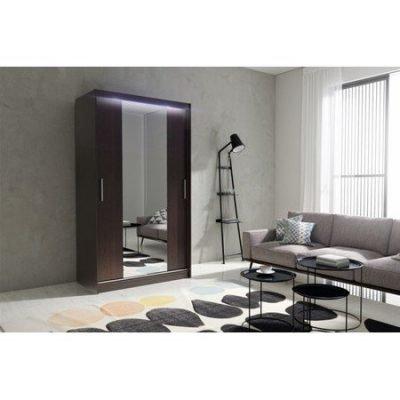 Kvalitní šatní skříň KOLA 4 wenge šířka 120 cm Včetně LED osvětlení