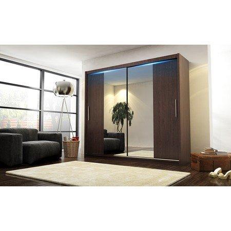 Kvalitní šatní skříň KOLA 4 wenge šířka 180 cm Včetně LED osvětlení