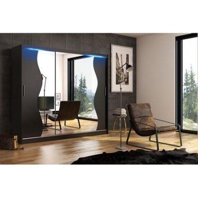 Kvalitní šatní skříň KOLA 5 černá šířka 250 cm Včetně LED osvětlení